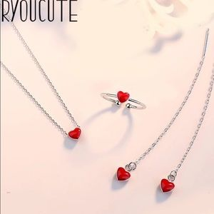 Jewelry - 925 sterling silver heart jewelry set